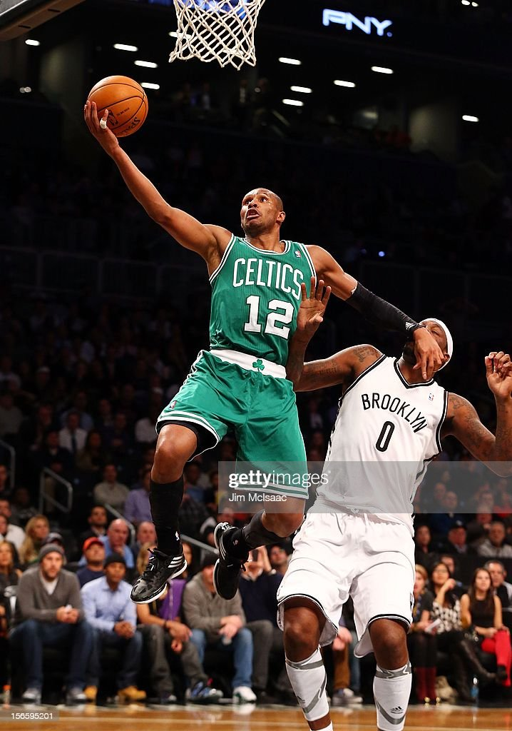 Leandro Barbosa #12 of the Boston Celtics in action against Andray Blatche #0 of the Brooklyn Nets at Barclays Center on November 15, 2012 in the Brooklyn borough of New York City.The Nets defeated the Celtics 102-97.