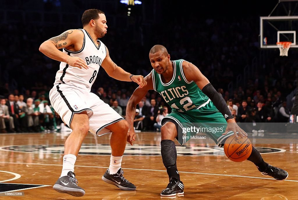 Leandro Barbosa #12 of the Boston Celtics in action against Deron Williams #8 of the Brooklyn Nets at Barclays Center on November 15, 2012 in the Brooklyn borough of New York City.The Nets defeated the Celtics 102-97.