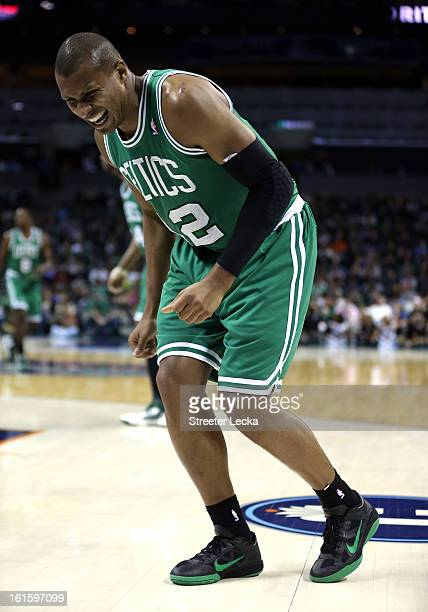 Leandro Barbosa of the Boston Celtics is injured during their game at Time Warner Cable Arena on February 11 2013 in Charlotte North Carolina NOTE TO...