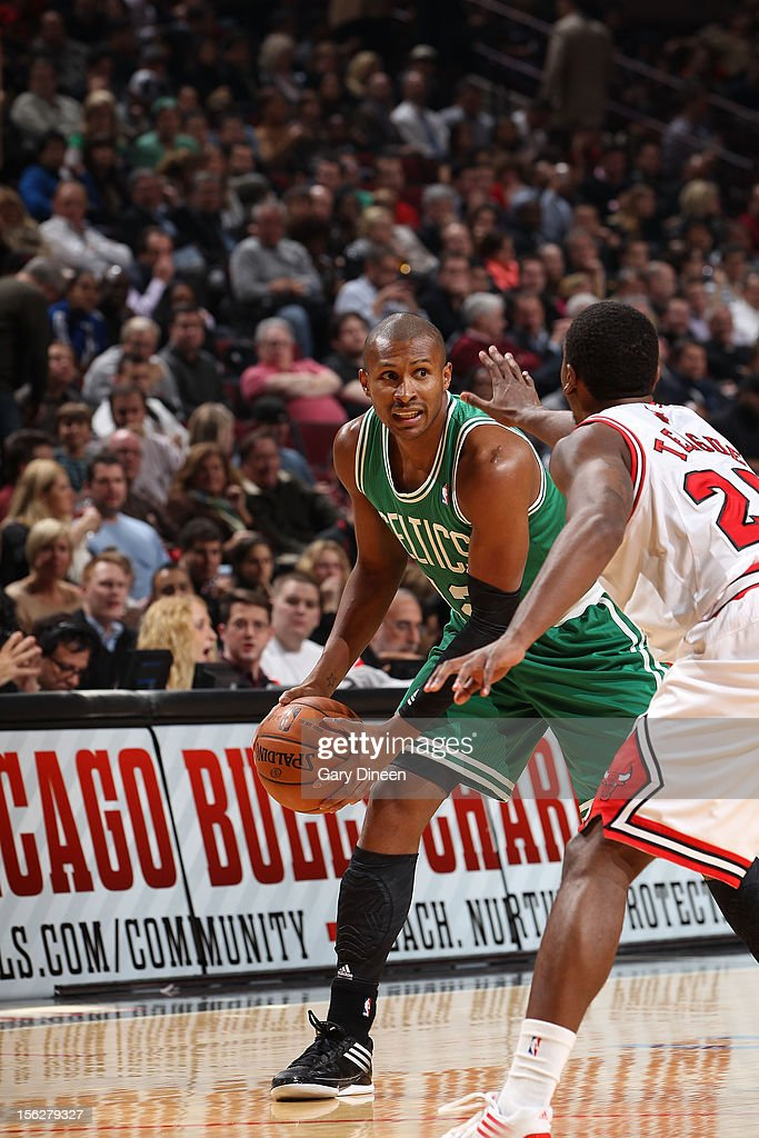 Leandro Barbosa #12 of the Boston Celtics looks to pass against Marquis Teague #25 of the Chicago Bulls during the NBA game on November 12, 2012 at the United Center in Chicago, Illinois.