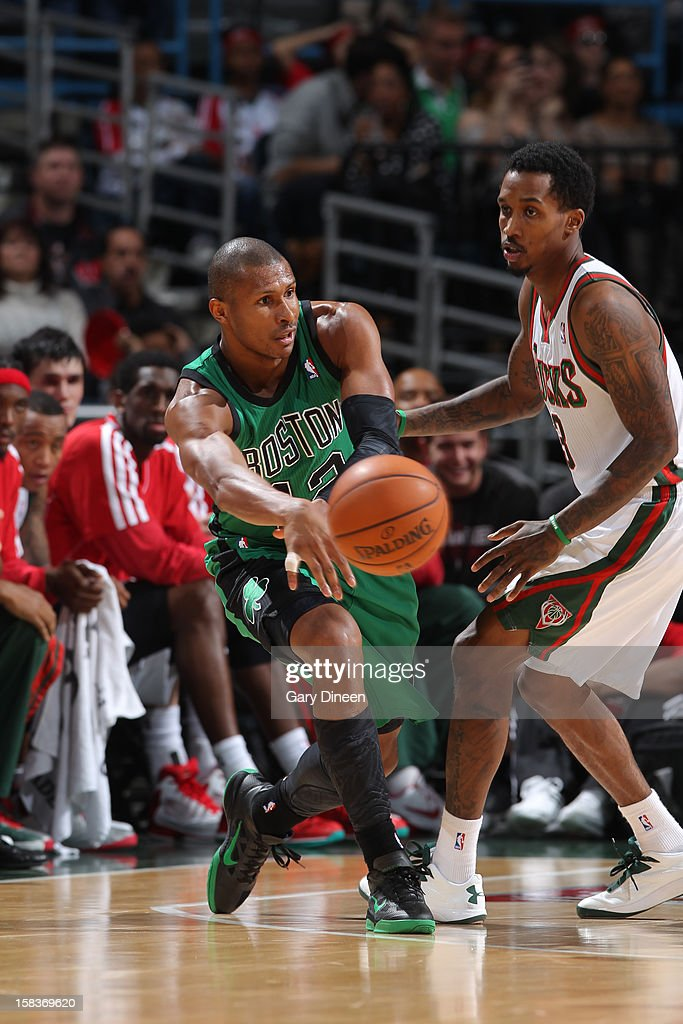 <a gi-track='captionPersonalityLinkClicked' href=/galleries/search?phrase=Leandro+Barbosa&family=editorial&specificpeople=201506 ng-click='$event.stopPropagation()'>Leandro Barbosa</a> #12 of the Boston Celtics makes a pass against the Milwaukee Bucks on December 1, 2012 at the BMO Harris Bradley Center in Milwaukee, Wisconsin.