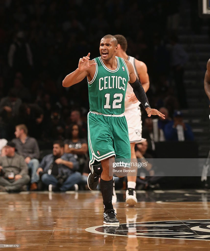Leandro Barbosa #12 of the Boston Celtics plays against the Brooklyn Nets at the Barclays Center on November 15, 2012 in the Brooklyn borough of New York City.
