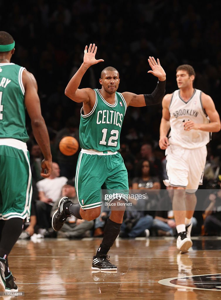 Leandro Barbosa #12 of the Boston Celtics reacts after hitting a three pointer in the third quarter against the Brooklyn Nets at the Barclays Center on November 15, 2012 in the Brooklyn borough of New York City.