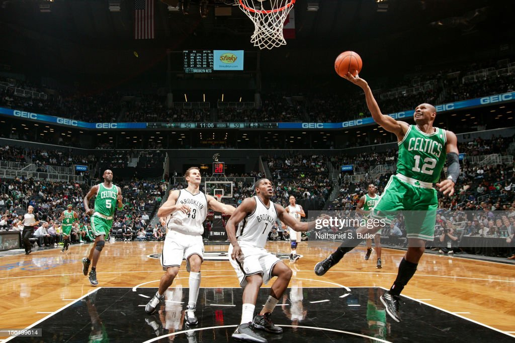 Leandro Barbosa #12 of the Boston Celtics shoots a layup against the Brooklyn Nets on November 15, 2012 at the Barclays Center in the Brooklyn borough of New York City.
