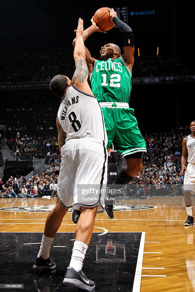 Leandro Barbosa #12 of the Boston Celtics shoots against Deron Williams #8 of the Brooklyn Nets on November 15, 2012 at the Barclays Center in the Brooklyn Borough of New York City.