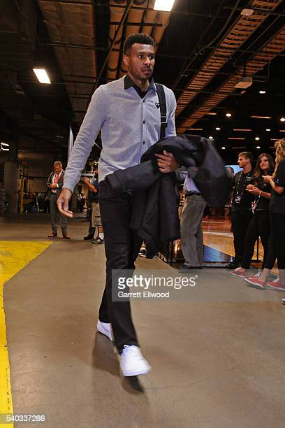 Leandro Barbosa of the Golden State Warriors arrives before Game Four of the 2016 NBA Finals against the Cleveland Cavaliers at The Quicken Loans...