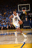 Leandro Barbosa of the Golden State Warriors brings the ball up court against the New Orleans Pelicans on October 27 2015 at Oracle Arena in Oakland...