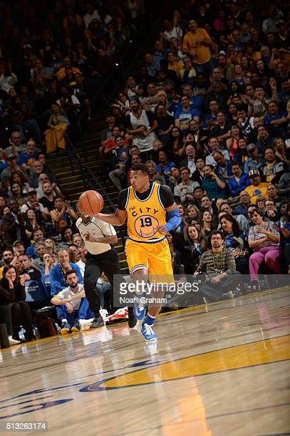 Leandro Barbosa of the Golden State Warriors brings the ball up court against the Atlanta Hawks on March 1 2016 at Oracle Arena in Oakland California...