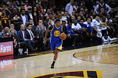 Leandro Barbosa of the Golden State Warriors brings the ball up court against the Cleveland Cavaliers in Game Three of the 2016 NBA Finals on June 8...
