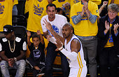 Leandro Barbosa of the Golden State Warriors celebrates in the first quarter against the Cleveland Cavaliers during Game Two of the 2015 NBA Finals...
