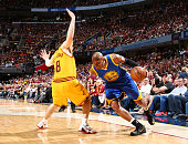 Leandro Barbosa of the Golden State Warriors drives against Matthew Dellavedova of the Cleveland Cavaliers during Game Three of the 2015 NBA Finals...