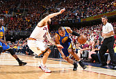 Leandro Barbosa of the Golden State Warriors drives against Matthew Dellavedova of the Cleveland Cavaliers during Game Six of the 2015 NBA Finals at...