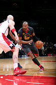 Leandro Barbosa of the Golden State Warriors drives against the Washington Wizardson February 24 2015 at Verizon Center in Washington DC NOTE TO USER...