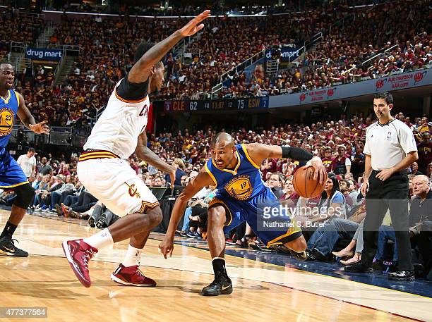 Leandro Barbosa of the Golden State Warriors drives during Game Six of the 2015 NBA Finals at The Quicken Loans Arena on June 16 2015 in Cleveland...