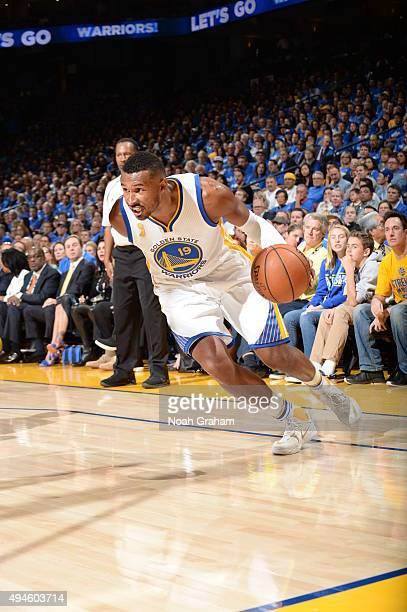 Leandro Barbosa of the Golden State Warriors drives to the basket against the New Orleans Pelicans on October 27 2015 at Oracle Arena in Oakland...