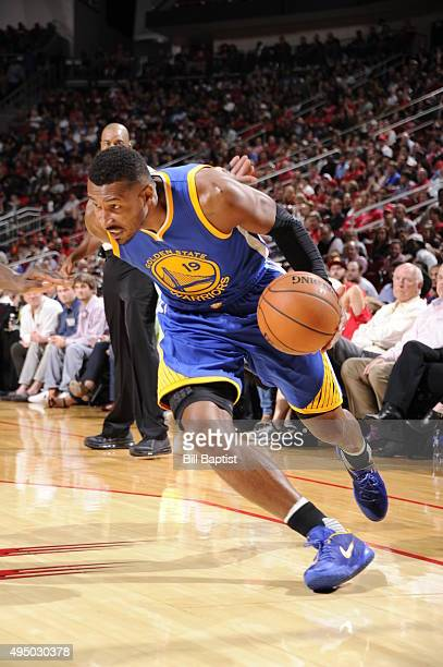 Leandro Barbosa of the Golden State Warriors drives to the basket against the Houston Rockets during the game on October 30 2015 at Toyota Center in...