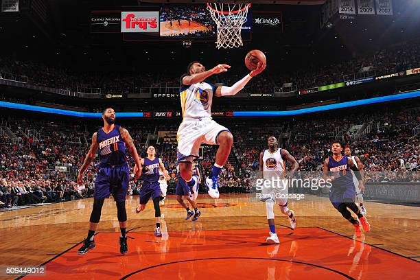 Leandro Barbosa of the Golden State Warriors goes for the layup against the Phoenix Suns during the game on February 10 2016 at Talking Stick Resort...