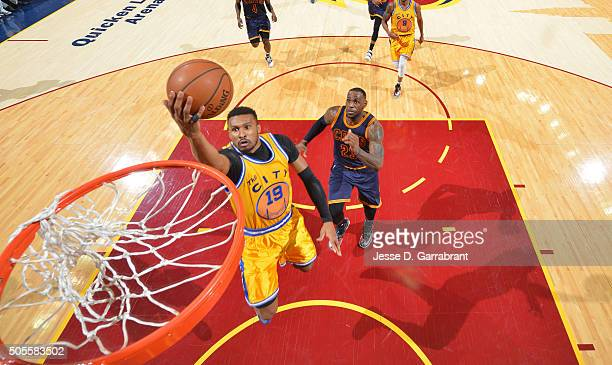 Leandro Barbosa of the Golden State Warriors goes up for the layup against the Cleveland Cavaliers on January 18 2016 at Quicken Loans Arena in...