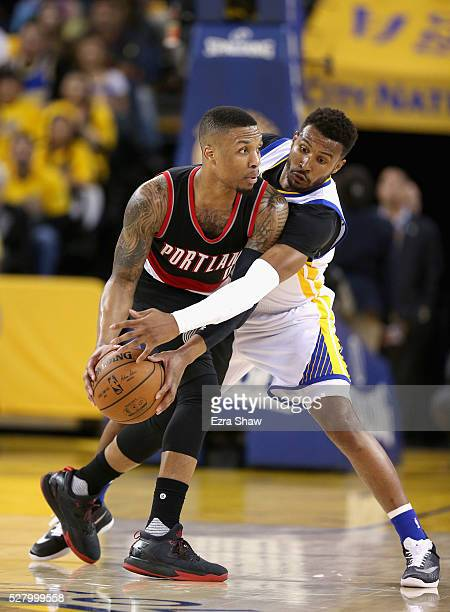 Leandro Barbosa of the Golden State Warriors guards Damian Lillard of the Portland Trail Blazers during Game Two of the Western Conference Semifinals...