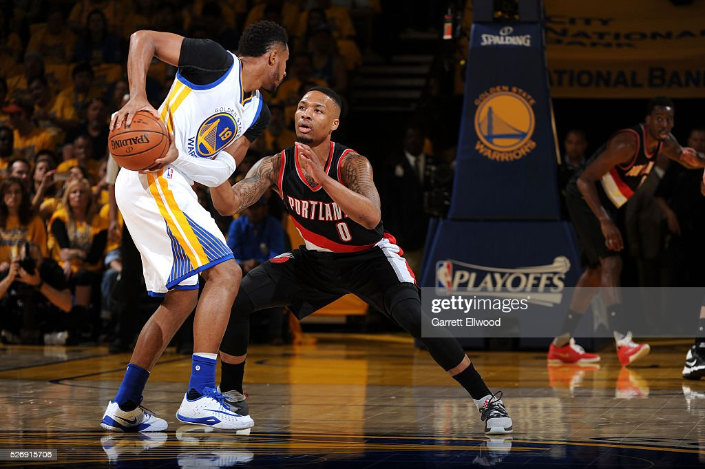 Leandro Barbosa #19 of the Golden State Warriors handles the ball during the game against Damian Lillard #0 of the Portland Trail Blazers in Game One of the Western Conference Semifinals during the 2016 NBA Playoffs on May 1, 2016 at ORACLE Arena in Oakland, California.