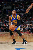 Leandro Barbosa of the Golden State Warriors handles the basketball during a game against the Los Angeles Clippers on October 7 2014 at the Staples...