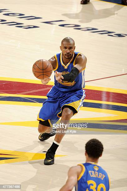 Leandro Barbosa of the Golden State Warriors passes the ball against the Cleveland Cavaliers in Game Six of the 2015 NBA Finals at The Quicken Loans...