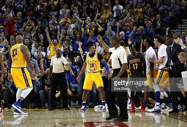 Leandro Barbosa of the Golden State Warriors reacts after he made a shot at the buzzer at the end of the third quarter against the Atlanta Hawks at...