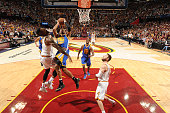 Leandro Barbosa of the Golden State Warriors shoots against Iman Shumpert of the Cleveland Cavaliers during Game Six of the 2015 NBA Finals at The...