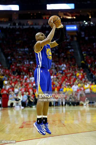 Leandro Barbosa of the Golden State Warriors shoots against the Houston Rockets in the third quarter during Game Four of the Western Conference...