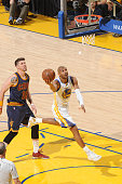 Leandro Barbosa of the Golden State Warriors shoots during Game Five of the 2015 NBA Finals at Oracle Arena on June 14 2015 in Oakland California...