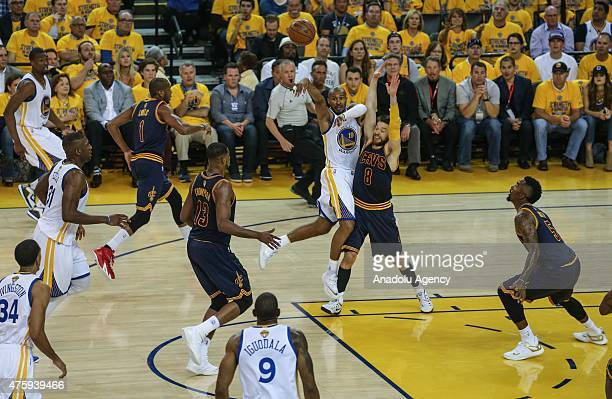 Leandro Barbosa of the Golden State Warriors shoots the ball against the Cleveland Cavaliers during Game One of the 2015 NBA Finals at the Oracle...