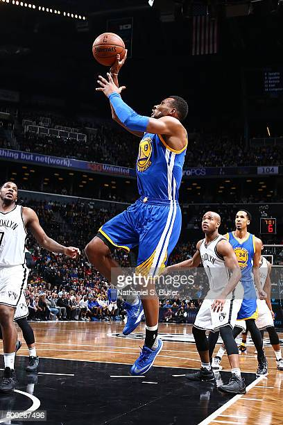 Leandro Barbosa of the Golden State Warriors shoots the ball during the game against the Brooklyn Nets on December 6 2015 at Barclays Center in...