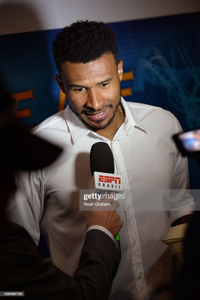 Leandro Barbosa #19 of the Golden State Warriors speaks with press before facing the Cleveland Cavaliers for Game Two of the 2016 NBA Finals on June 5, 2016 at ORACLE Arena in Oakland, California.