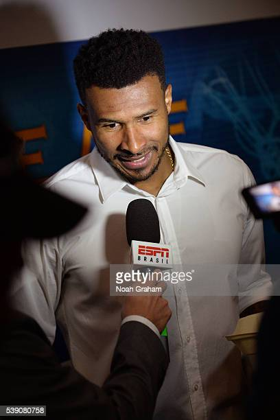Leandro Barbosa of the Golden State Warriors speaks with press before facing the Cleveland Cavaliers for Game Two of the 2016 NBA Finals on June 5...