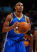 Leandro Barbosa of the Golden State Warriors takes a freethrow against the Denver Nuggets at Pepsi Center on March 13 2015 in Denver Colorado The...