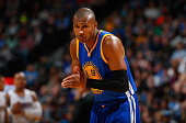 Leandro Barbosa of the Golden State Warriors takes the court against the Denver Nuggets at Pepsi Center on March 13 2015 in Denver Colorado The...