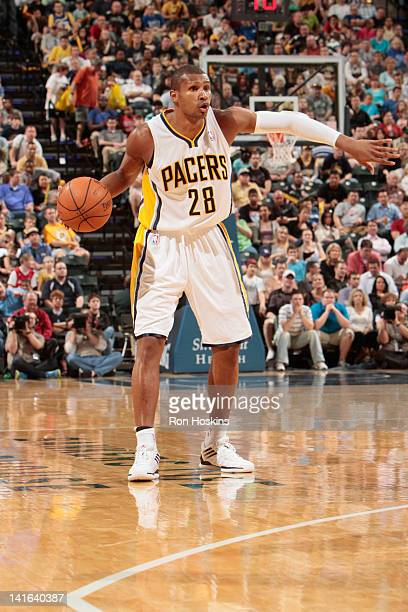 Leandro Barbosa of the Indiana Pacers protects the ball during the game between the Indiana Pacers and the Los Angeles Clippers on March 20 2012 at...