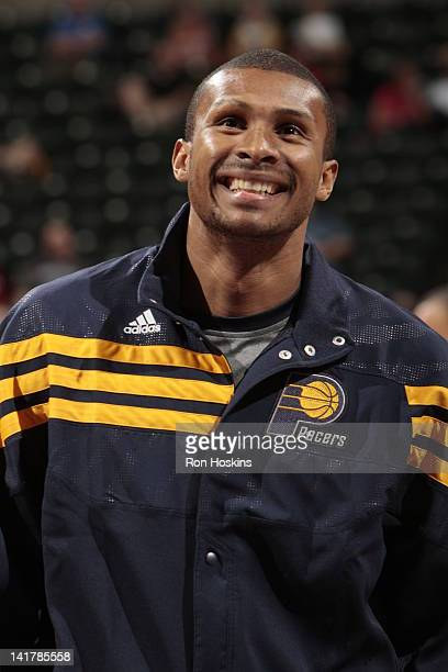 Leandro Barbosa of the Indiana Pacers smiles at warm ups before the game against the Phoenix Suns on March 23 2012 at Bankers Life Fieldhouse in...