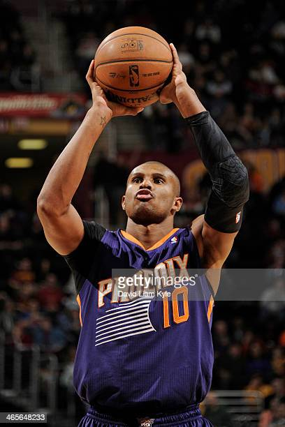 Leandro Barbosa of the Phoenix Suns attempts the foul shot against the Cleveland Cavaliers at The Quicken Loans Arena on January 26 2014 in Cleveland...