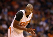 Leandro Barbosa of the Phoenix Suns awaits a free throw shot during the NBA game against the Indiana Pacers at US Airways Center on January 22 2014...