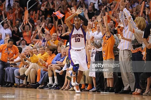 Leandro Barbosa of the Phoenix Suns celebrates after a shot against the Los Angeles Lakers in Game Four of the Western Conference Finals during the...