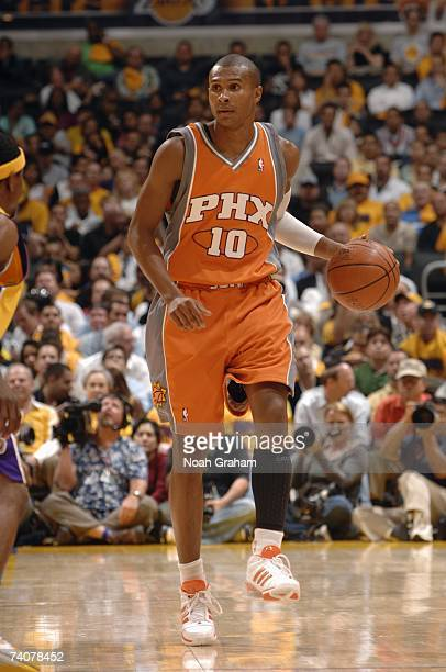 Leandro Barbosa of the Phoenix Suns dribbles against the Los Angeles Lakers in Game Three of the Western Conference Quarterfinals during the 2007 NBA...
