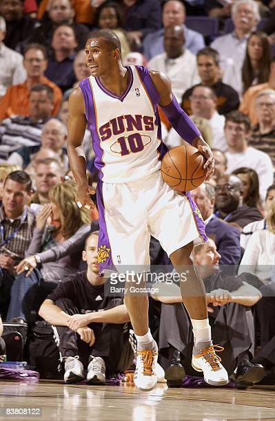 Leandro Barbosa of the Phoenix Suns drives the ball up court during the game against the Houston Rockets on November 12 2008 at US Airways Center in...
