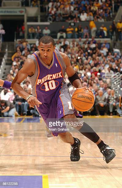 Leandro Barbosa of the Phoenix Suns drives to the basket during the game against the Los Angeles Lakers at Staples Center on November 3 2005 in Los...