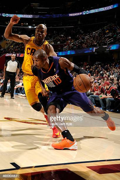 Leandro Barbosa of the Phoenix Suns drives to the hoop against Jarrett Jack of the Cleveland Cavaliers at The Quicken Loans Arena on January 26 2014...