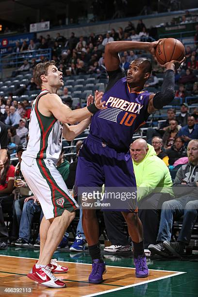 Leandro Barbosa of the Phoenix Suns handles the ball against the Milwaukee Bucks on January 29 2014 at the BMO Harris Bradley Center in Milwaukee...