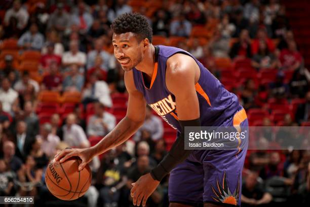 Leandro Barbosa of the Phoenix Suns handles the ball against the Miami Heat on March 21 2017 at American Airlines Arena in Miami Florida NOTE TO USER...