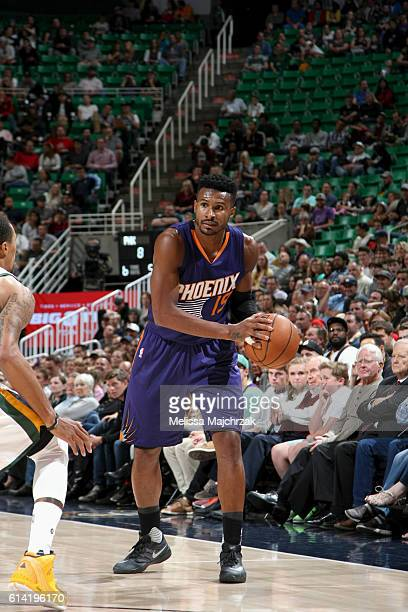 Leandro Barbosa of the Phoenix Suns handles the ball against the Utah Jazz during a preseason game on October 12 2016 at Vivint Smart Home Arena in...