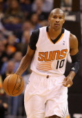 Leandro Barbosa of the Phoenix Suns handles the ball during the NBA game against the Indiana Pacers at US Airways Center on January 22 2014 in...