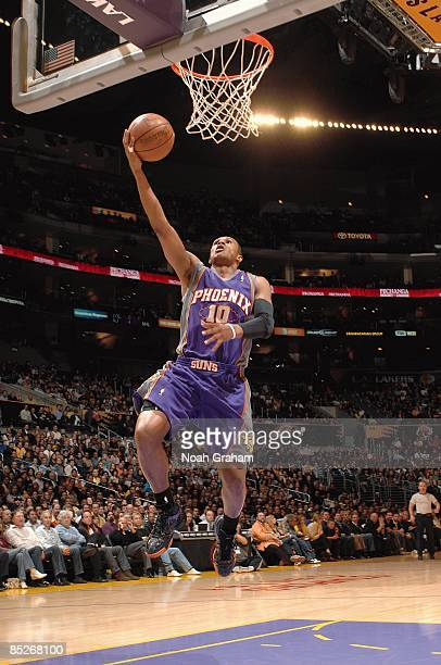 Leandro Barbosa of the Phoenix Suns lays up a shot during the game against the Los Angeles Lakers on February 26 2009 at Staples Center in Los...